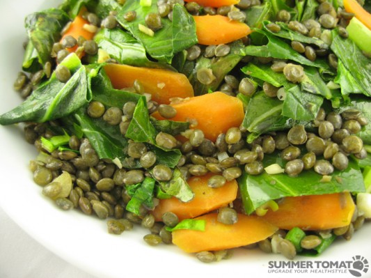 Collards, Carrots and Lentils Recipe