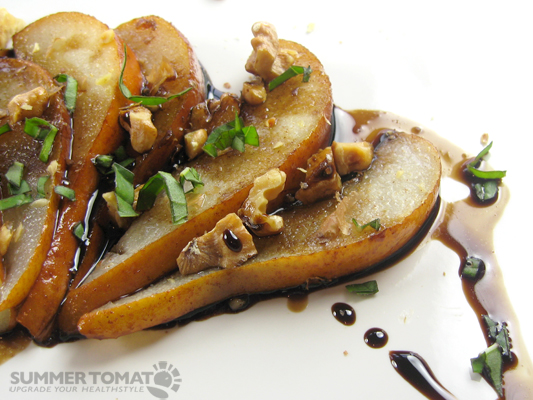 Bosc Pear With Toasted Walnuts and Balsamic Reduction