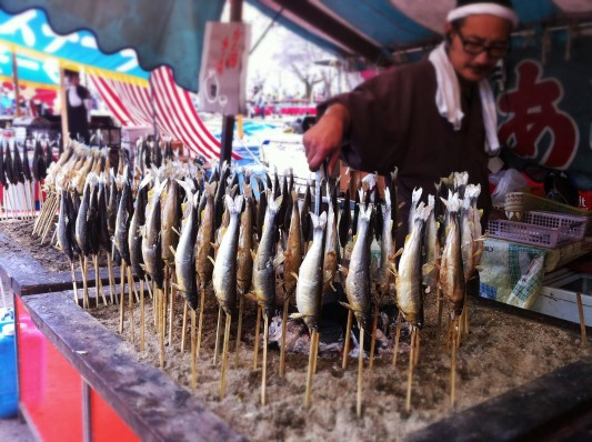 Sardines on a stick in Kyoto