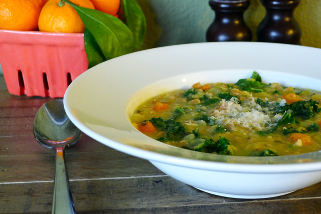 Red lentil soup with kale and farro