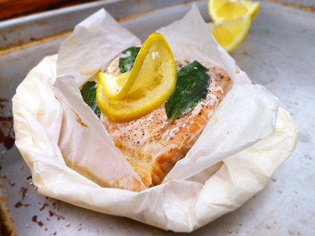 lemon sage fish en papillote