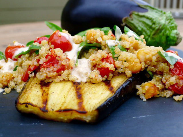 Grilled eggplant with chickpeas and tomatoes