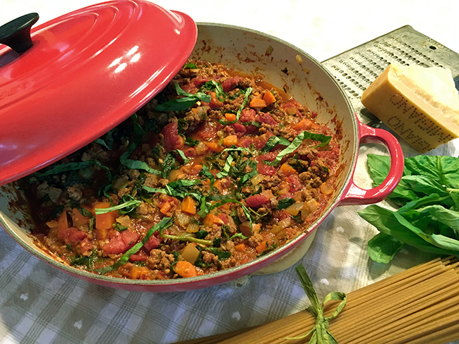 Healthy bolognese with extra vegetables
